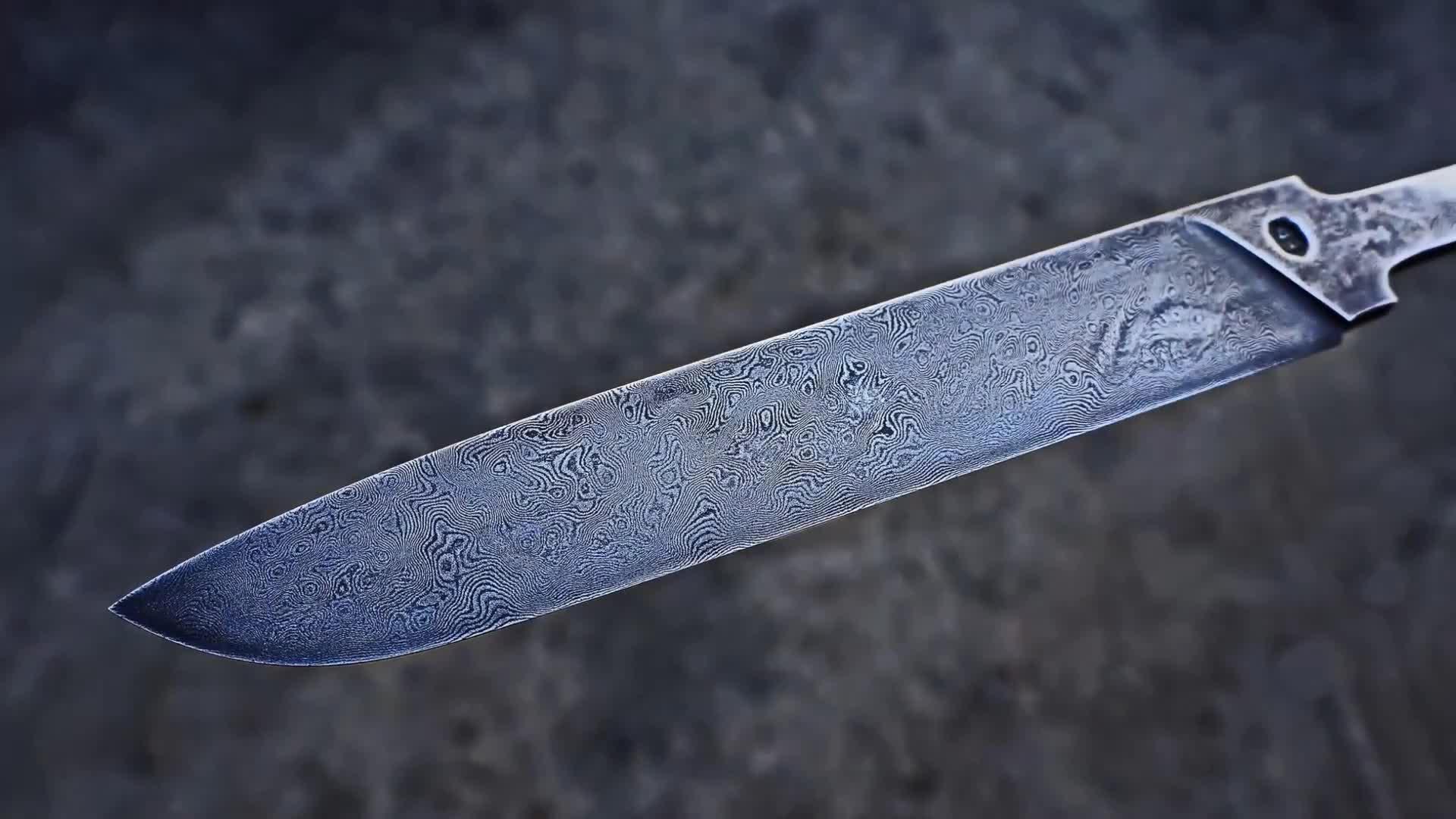 【刀制作】用两个卷尺和100片美工刀打造的大马士革刀