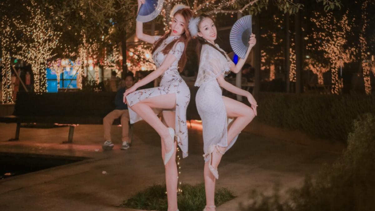 商场外两女子穿旗袍居然跳这个?【子怡×南瓜】
