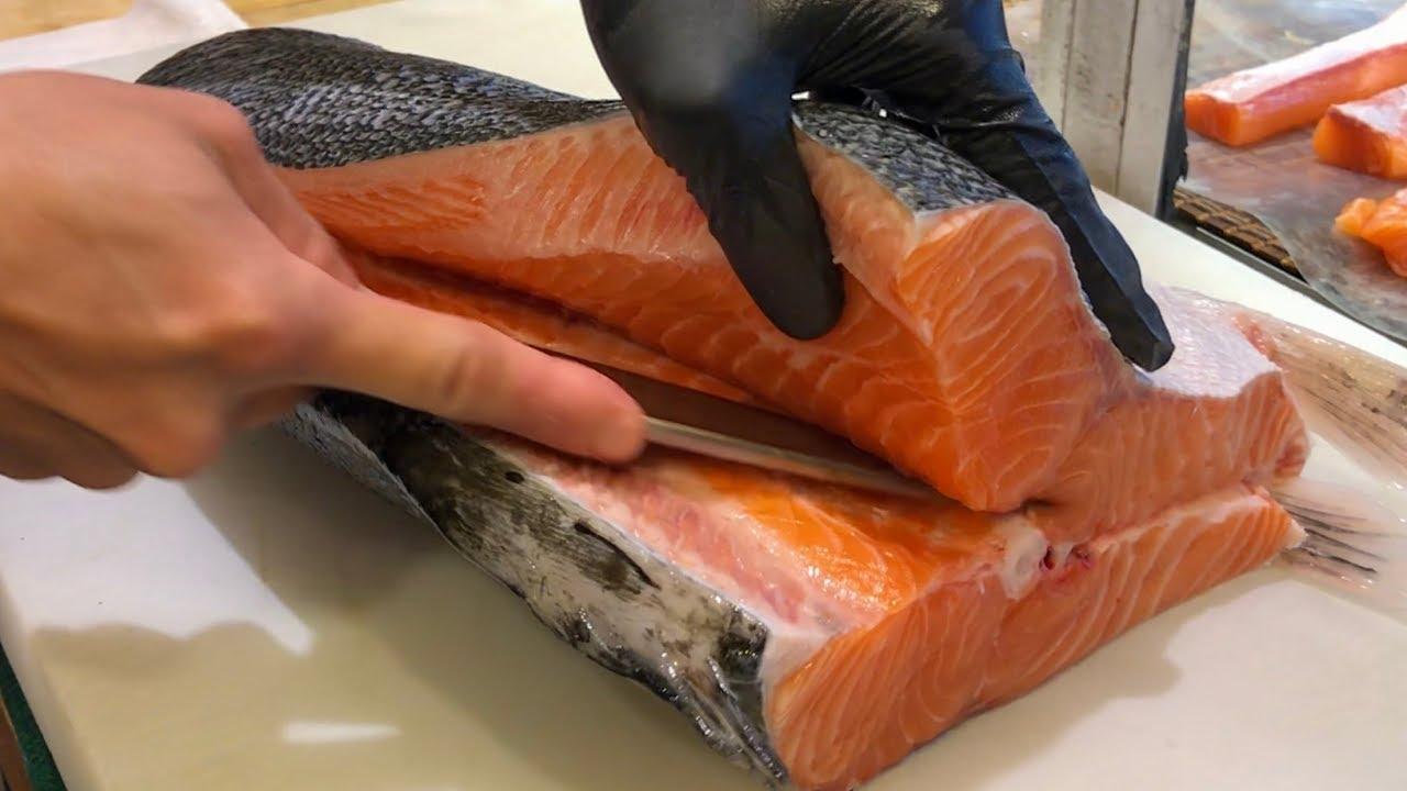 三文鱼切割技巧-如何切割三文鱼做生鱼片