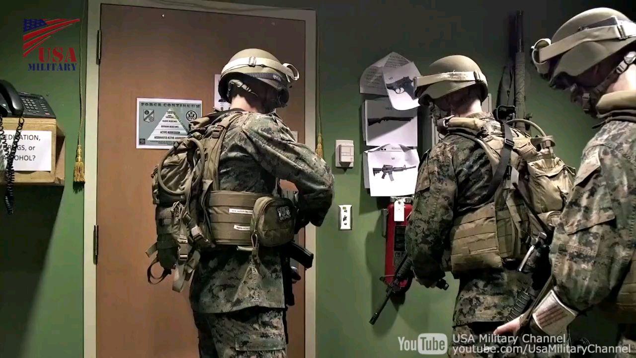 美国海军陆战队大使馆安保护卫演习!
