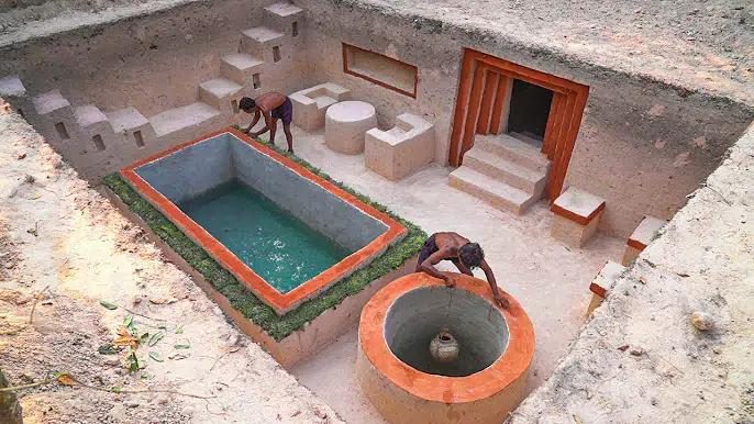 【开局一把刀】建造最现代的游泳池和地下秘密隧道屋