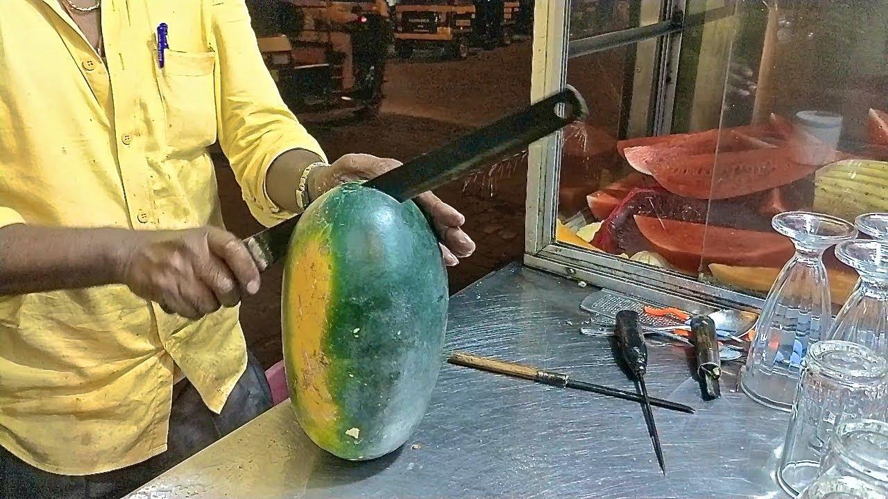 印度水果忍者|惊人的水果切割技巧|印度街头美食