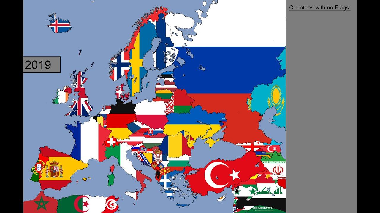 【历史地图】欧洲:国旗时间表:1000-2019