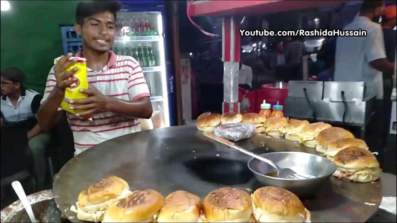 印度街头美食 鸡蛋汉堡包