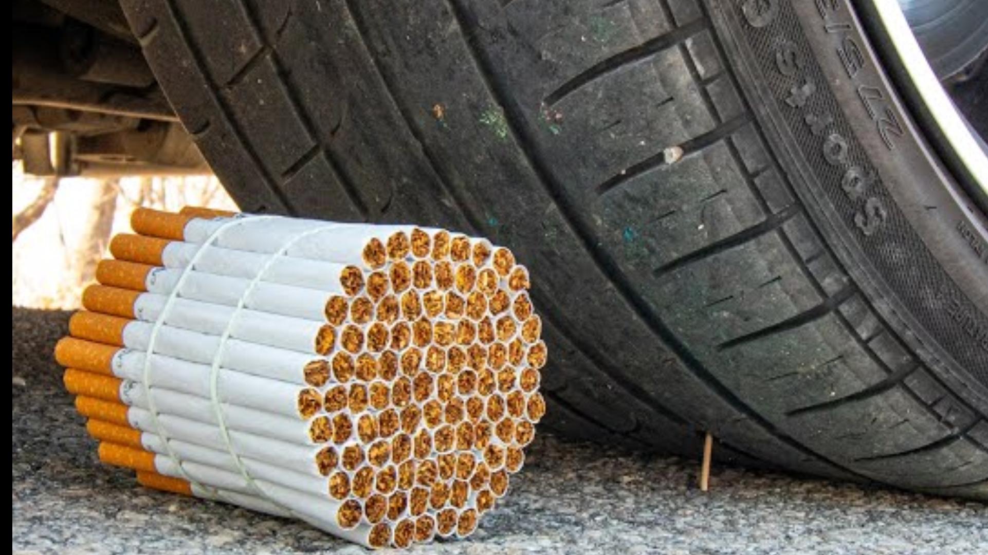 把香烟放在汽车轮胎前开过会怎样?