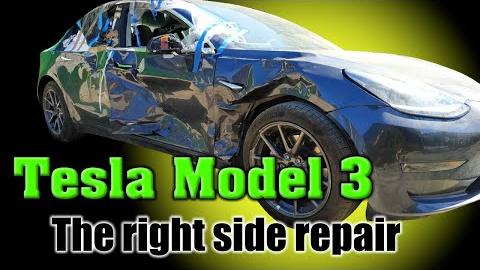 特斯拉Model 3事故车修复|毛子钣金王