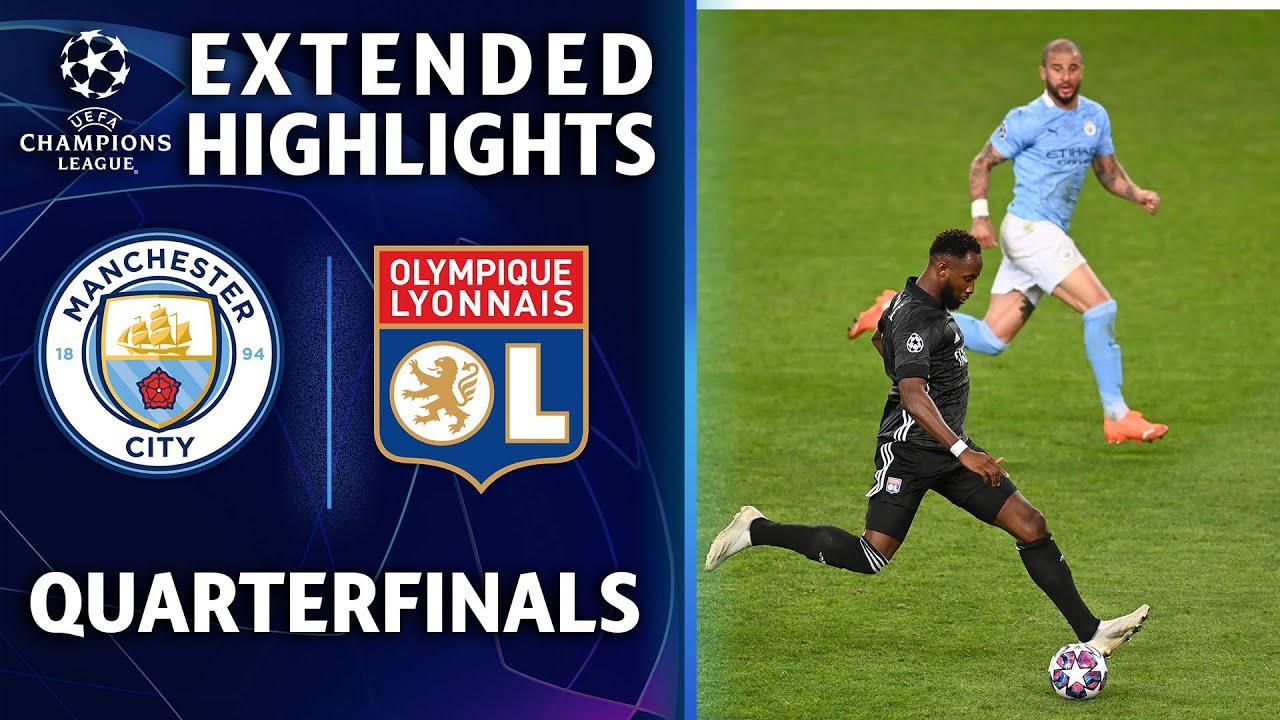 欧冠1/4决赛 里昂3:1曼城 全场集锦