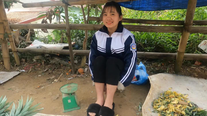 越南农村姑娘摆摊卖菠萝很热情,没想到她也会说中文。