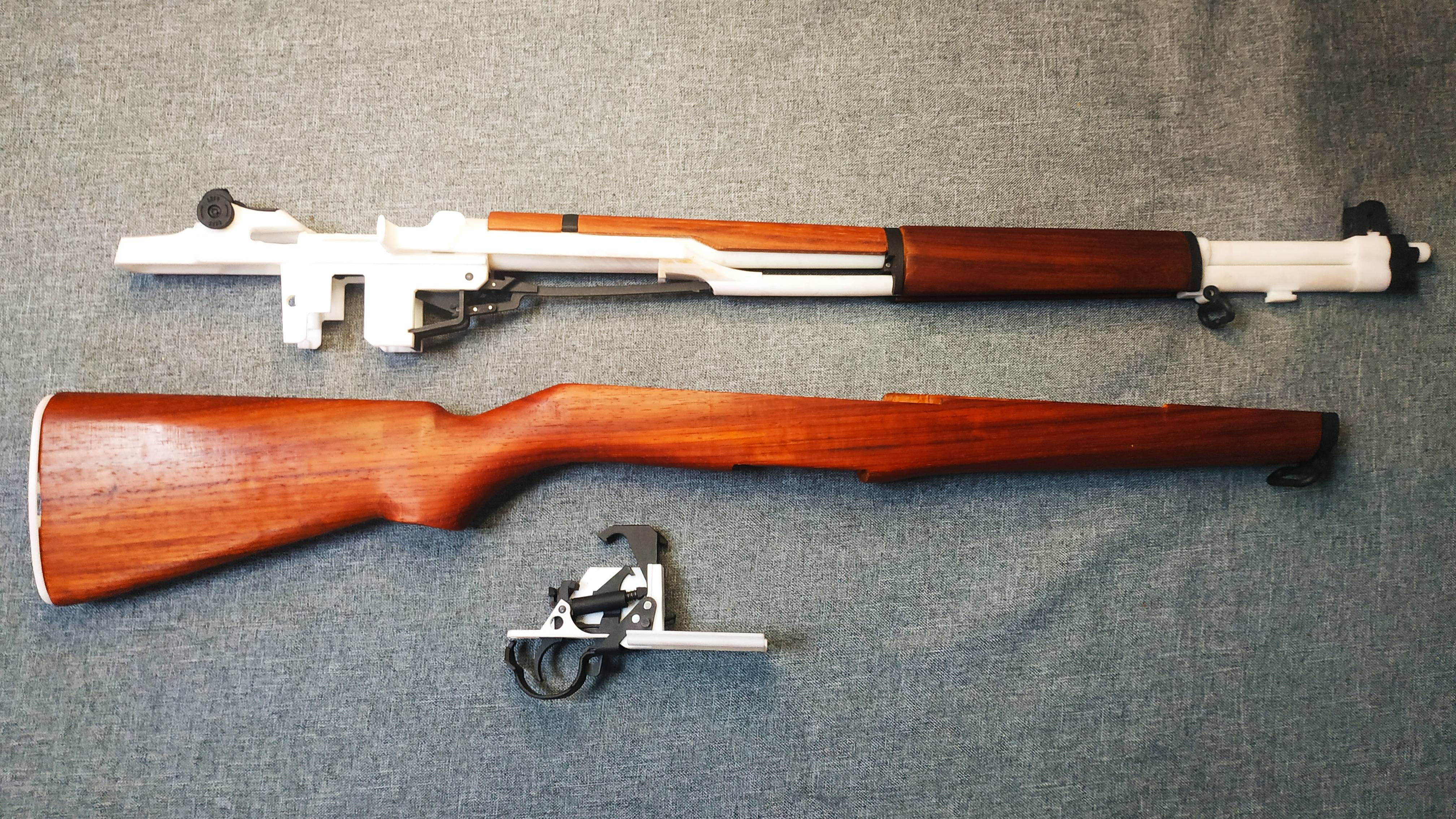 M1加兰德步枪分解与组装——3D打印不可发射塑料模型