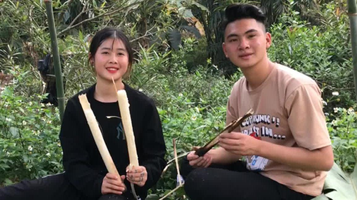 和小粉姑娘做越南竹筒饭,满满的儿时回忆!