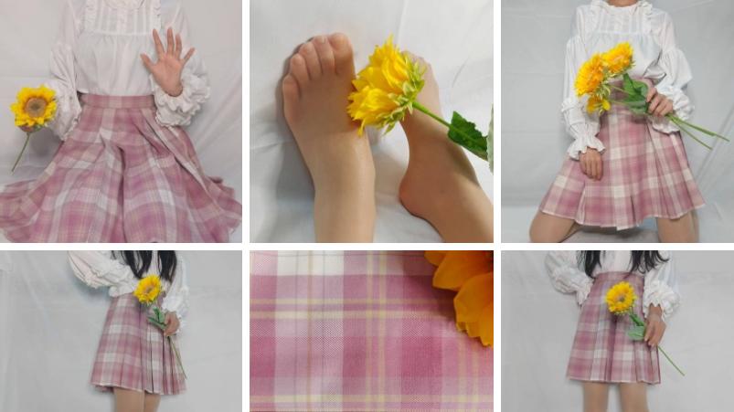 九:粉红色格裙配素纥热恋系列自然肤丝袜非常日常。