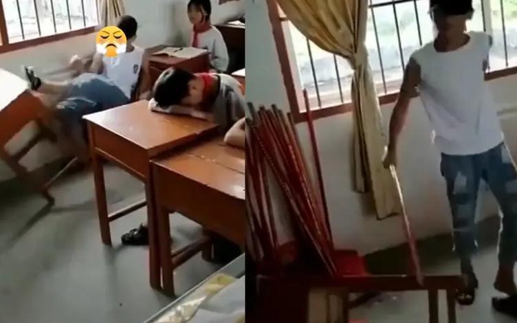 大逆不道!  上课聊天被批评,广西一学生竟踹开课桌辱骂老师