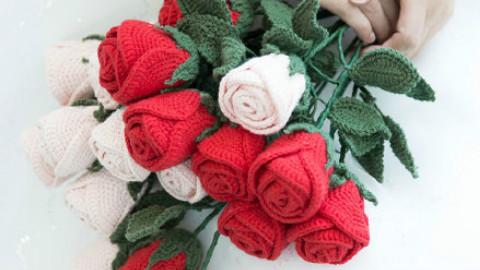 钩织玫瑰花束教程