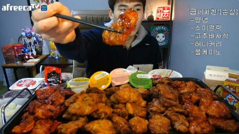 【韩国吃播】BJ奔驰 调味炸鸡+大蒜酱油+辣椒香脆烤鸡+蜂蜜咖喱+超辣火山炸鸡!![160213]