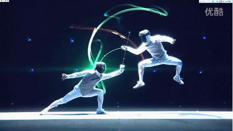 击剑比赛加上视觉特效后,变得很炫酷了呢