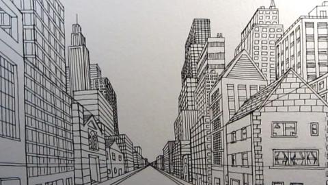 手绘街景1