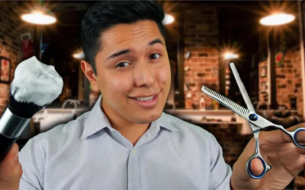 意大利理发师给您剪造发型和刮胡子过程放松享受。