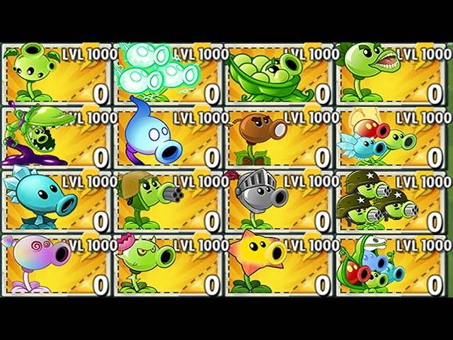 all pea plants level 1000 challenge & power-up!in plants vs zombies
