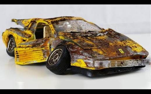 翻新修复————油管一小哥修复废弃的法拉利Testarossa模型车