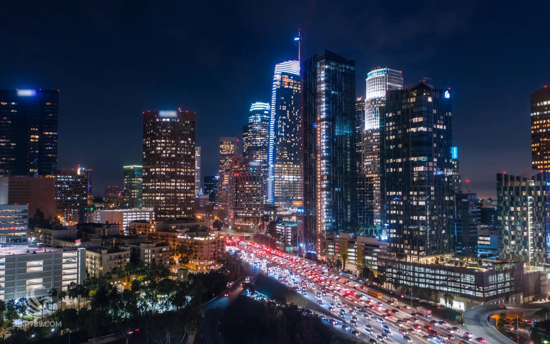 【4K】洛杉矶美丽夜景 无人机航拍 延时摄影