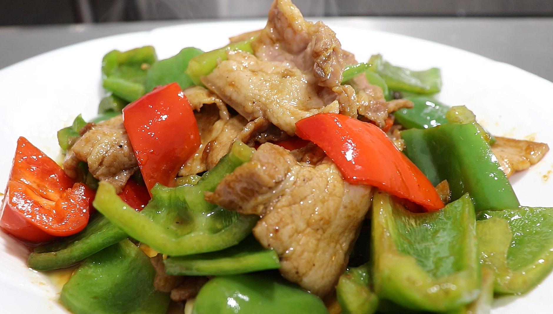 厨师长教青椒炒肉,肉片干香,青椒味足,不用焯水也不过油