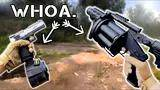the best combination ever!mgl grenade launcher + full auto pistol(1500rpm