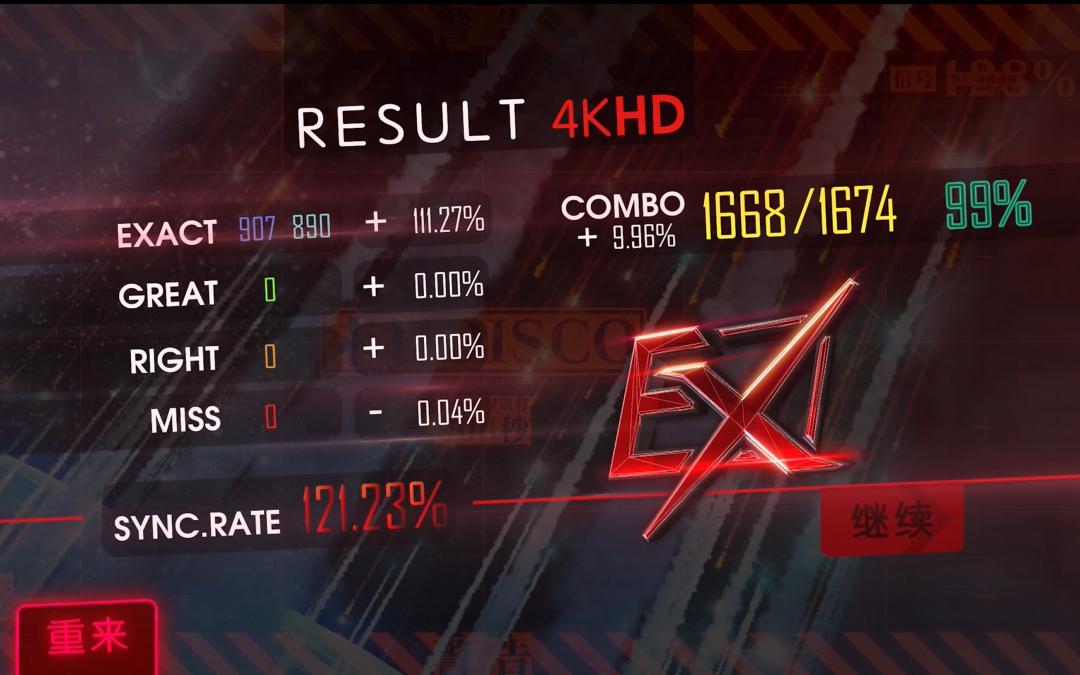 【喵赛克】末日disco ALL EX 121.23%