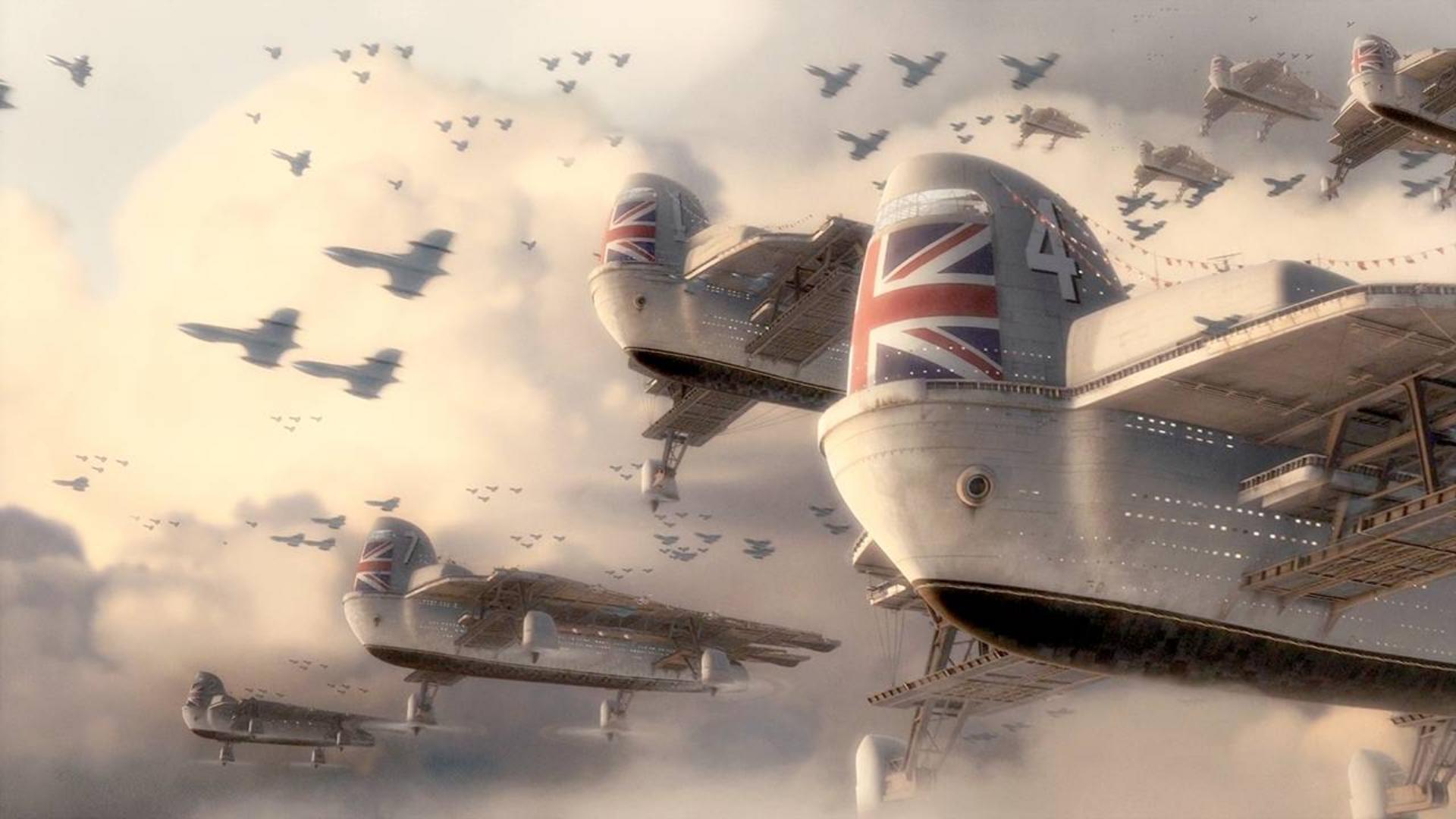 天空航母霸气登场,一部天马行空,罕见的蒸汽朋克科幻大作!速看科幻电影《天空上尉与明日世界》