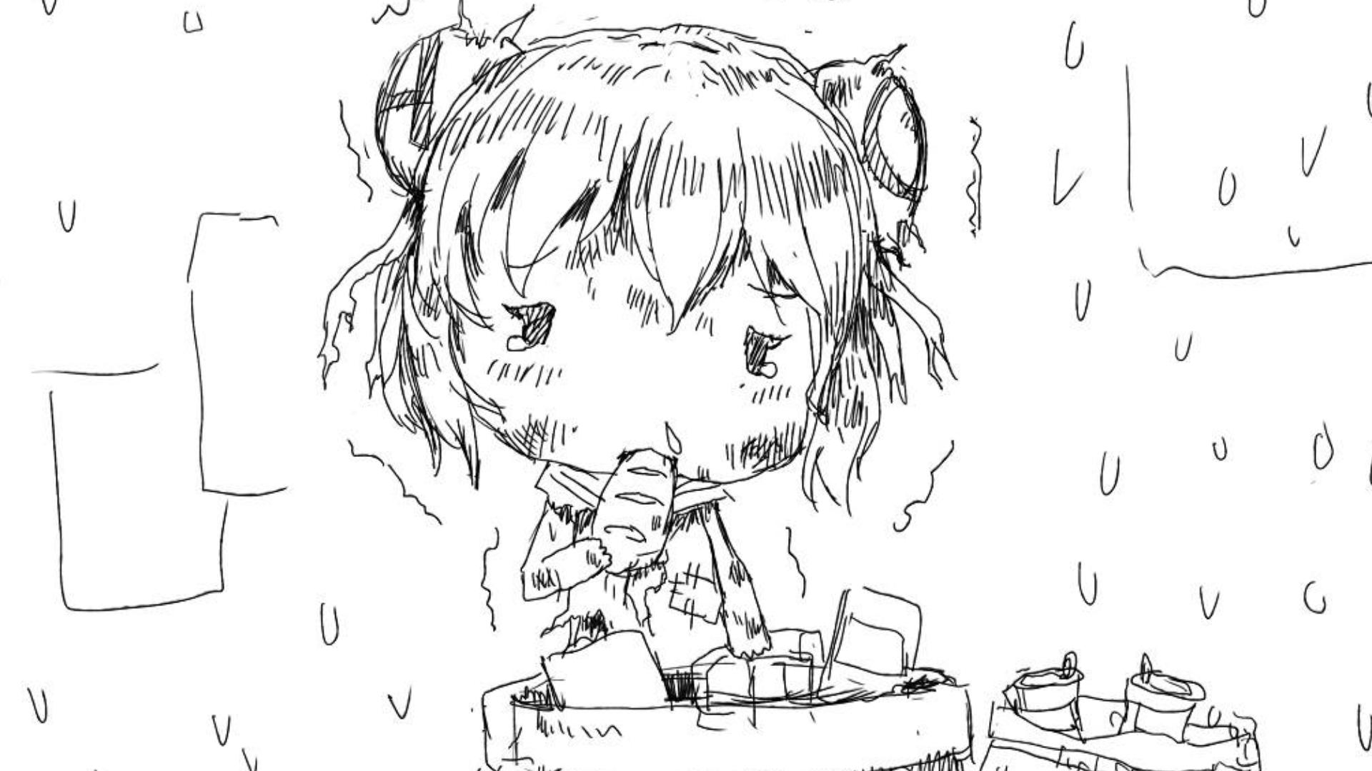 瘦弱的AC娘吃着在垃圾桶里捡到的面包..........【过年稿事情】