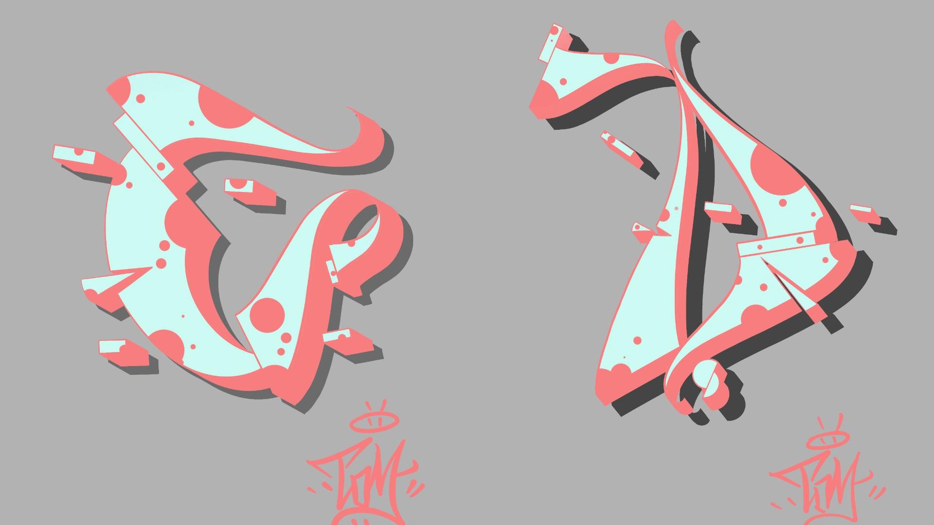 [IPAD][字母][procreate教程]][涂鸦] 自己风格的 C和D