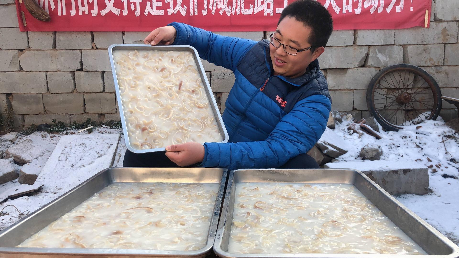 12斤猪皮,做了满满3大盘水晶猪皮冻,鲜美Q弹,过年大家抢着吃!