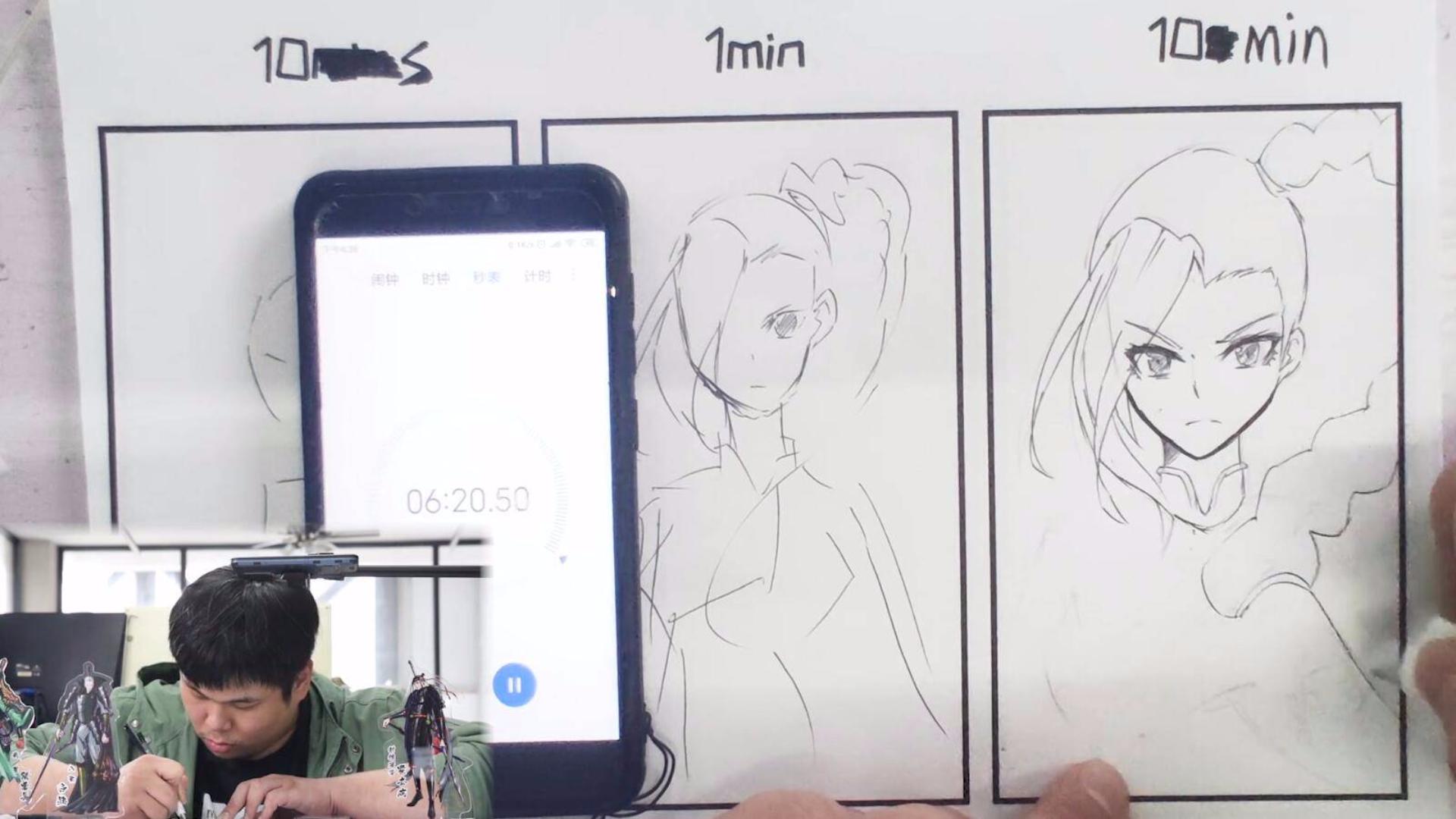 应网友要求,胖子漫画家用10秒、10分钟画梅花十三娘!