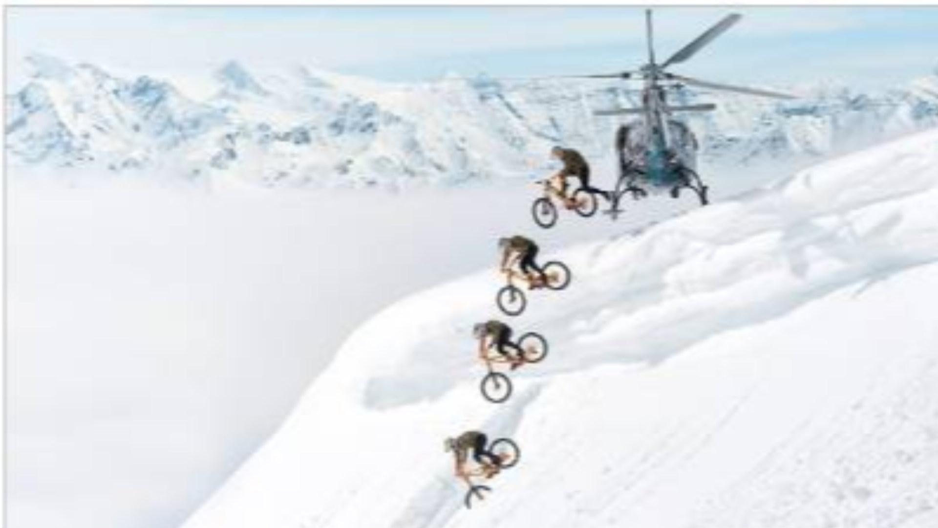 刺激!搭直升机到雪山顶,骑自行车速降下山!