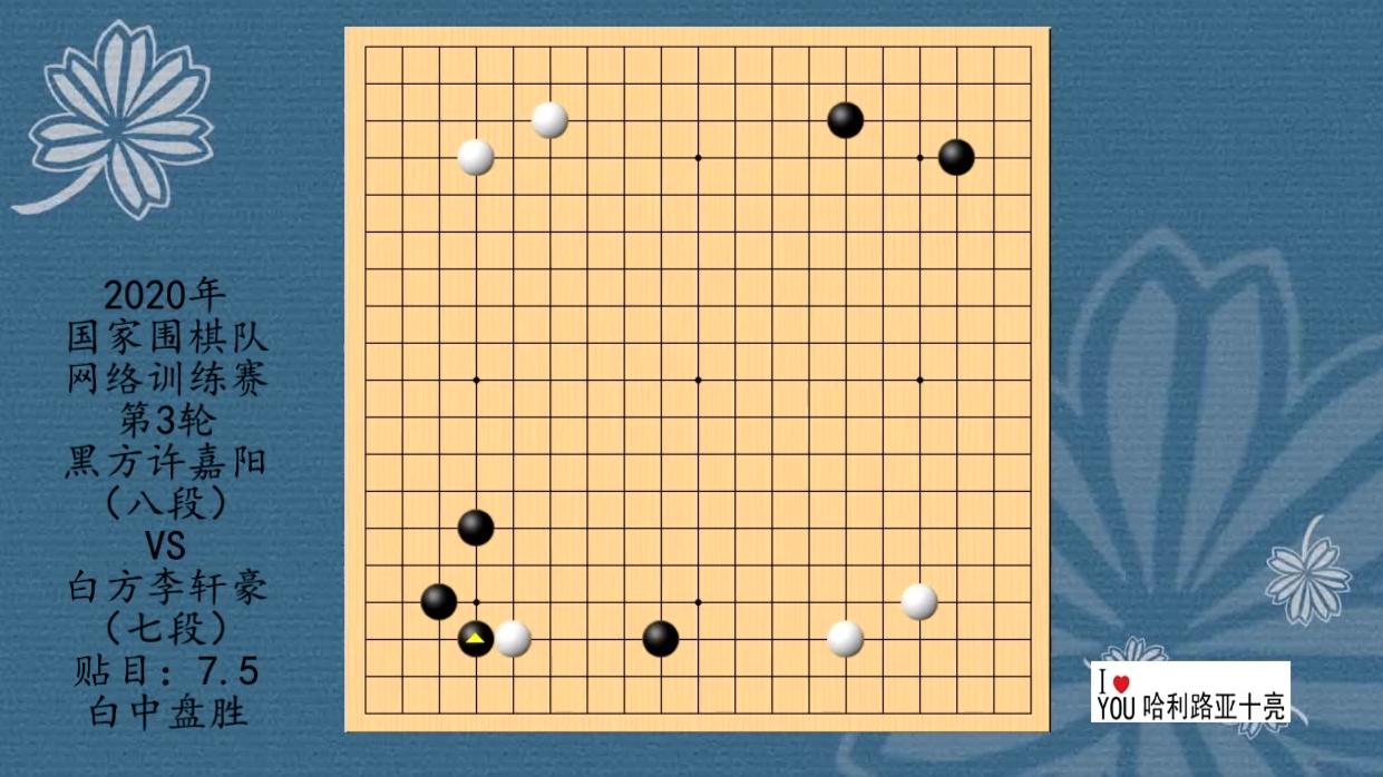 2020年国家围棋队网络训练赛第3轮,许嘉阳VS李轩豪,白中盘胜