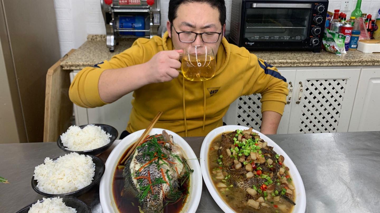3碗大米饭,两条罗非鱼,一条清蒸一条红烧,这宵夜吃过瘾了