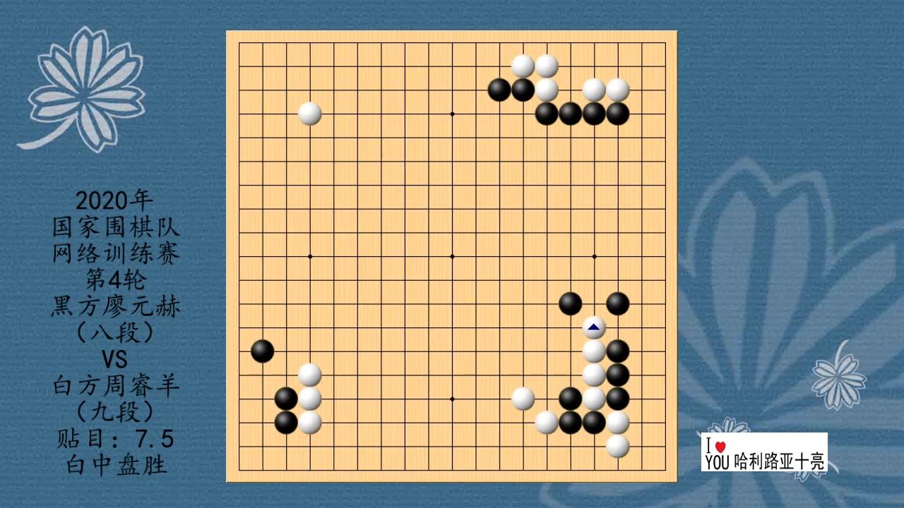 2020年国家围棋队网络训练赛第4轮,廖元赫VS周睿羊,白中盘胜
