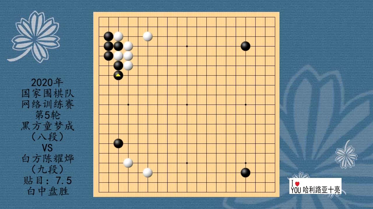 2020年国家围棋队网络训练赛第5轮,童梦成VS陈耀烨,白中盘胜