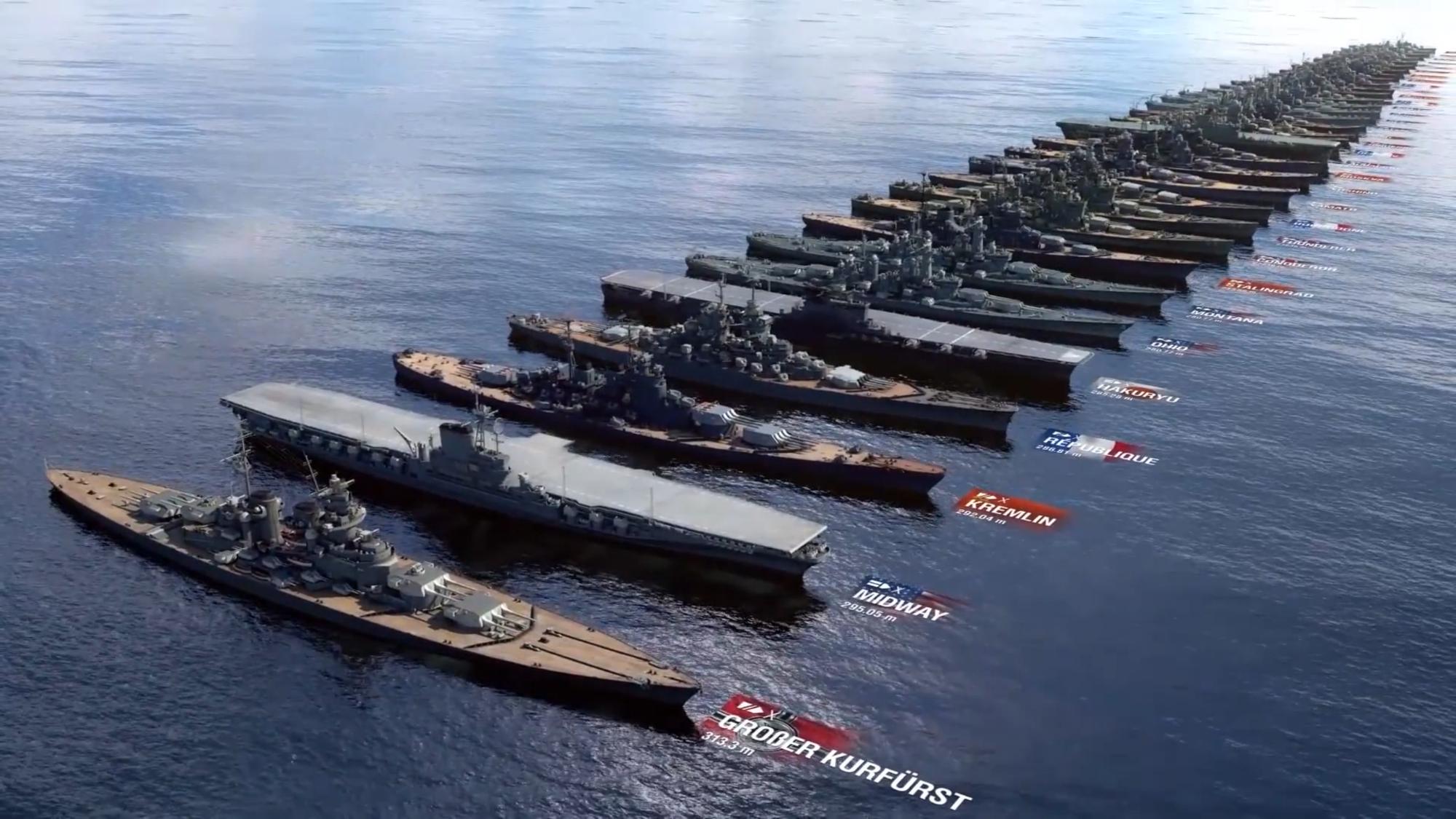 战舰世界干船坞:战舰尺寸比较 从最小的驱逐舰到最大的战列舰!
