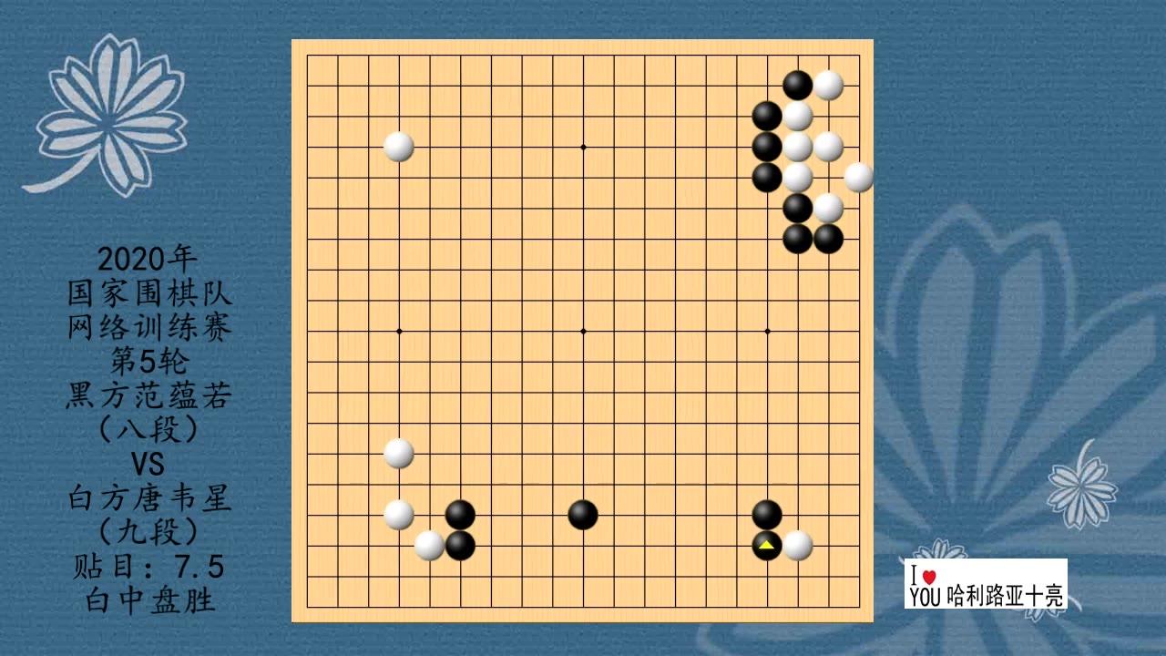 2020年国家围棋队网络训练赛第5轮,范蕴若VS唐韦星,白中盘胜
