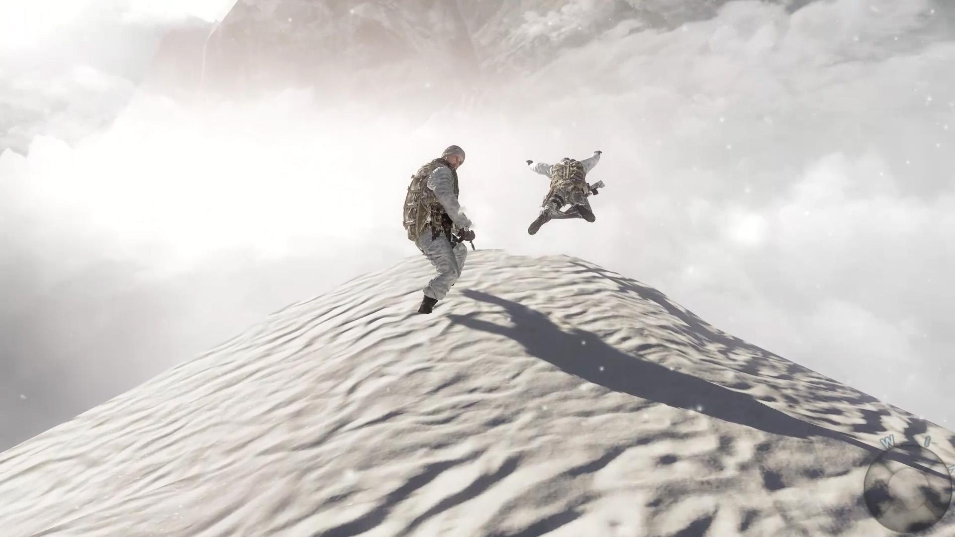 使命召唤7:崩塌中的大雪山,争分夺秒的大逃离,被迫跳崖逃生