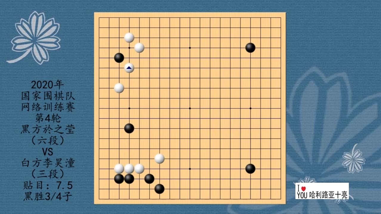 2020年围棋网络训练赛第4轮,於之莹VS李昊潼,黑胜0.75子