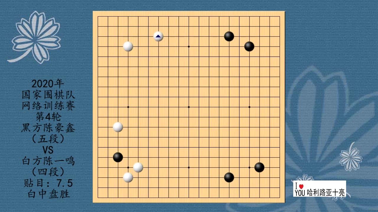 2020年围棋网络训练赛第4轮,陈豪鑫VS陈一鸣,白中盘胜