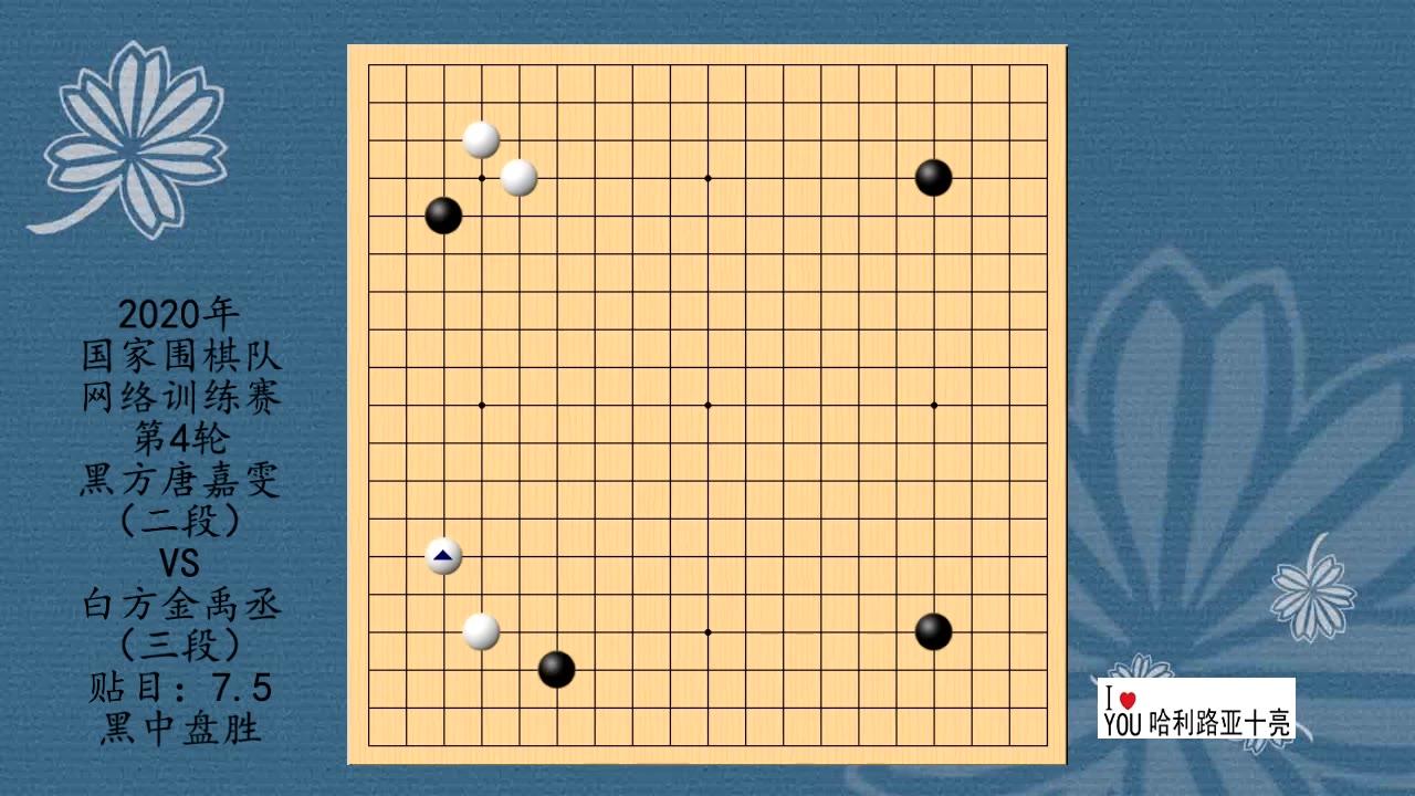 2020年围棋网络训练赛第4轮,唐嘉雯VS金禹丞,黑中盘胜