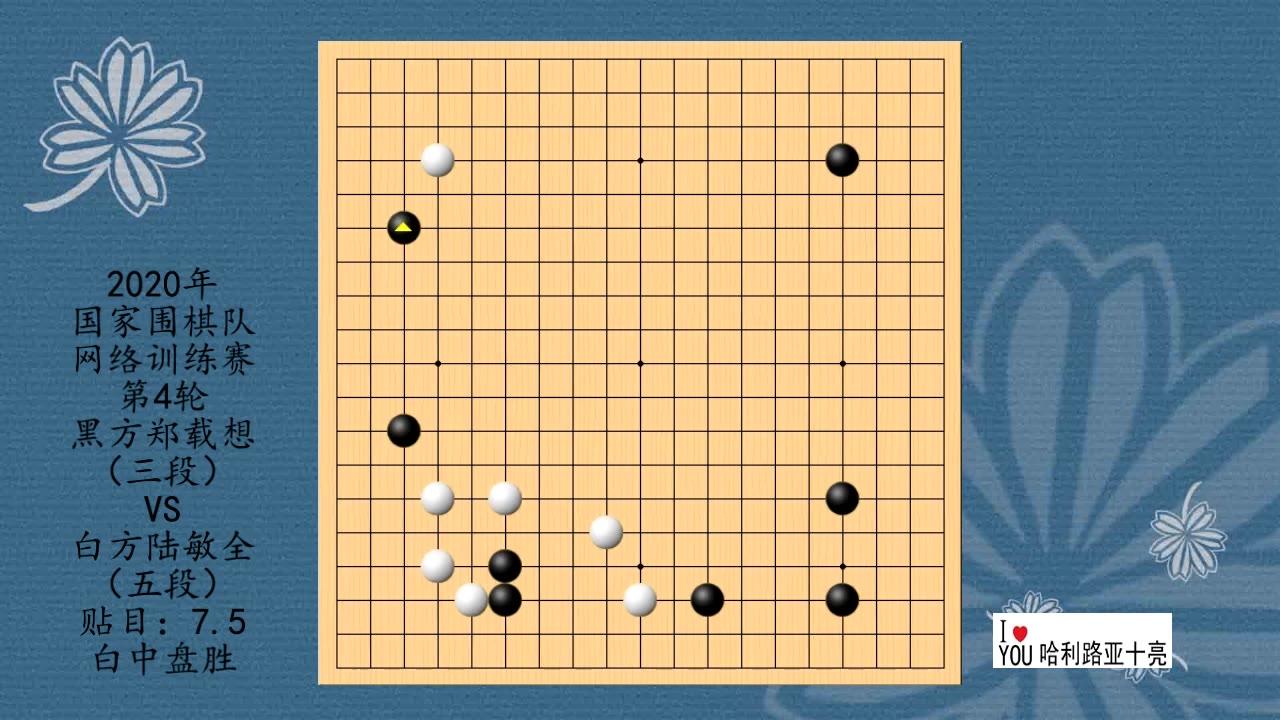 2020年围棋网络训练赛第4轮,郑载想VS陆敏全,白中盘胜