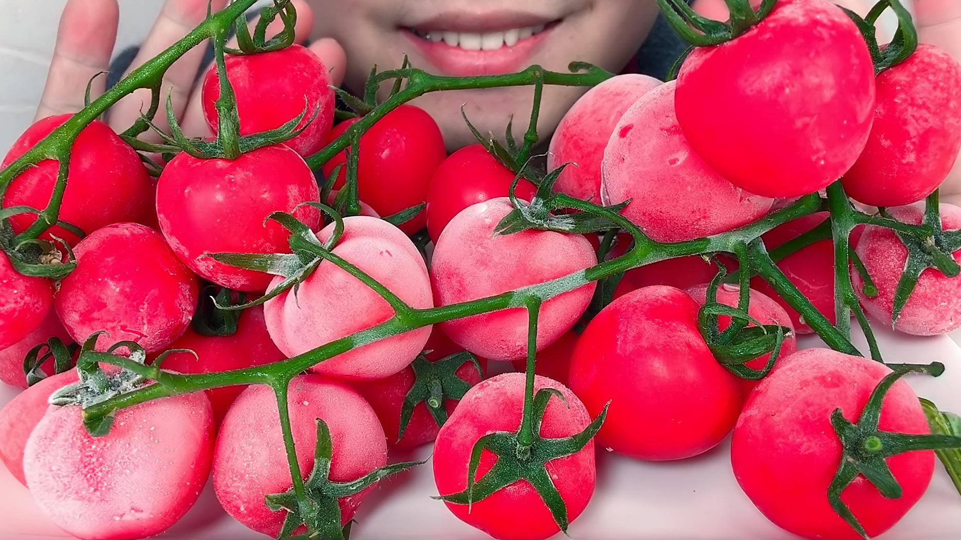 吃完1.7斤冰冻枝纯串收小番茄,听沙沙沙的声音!