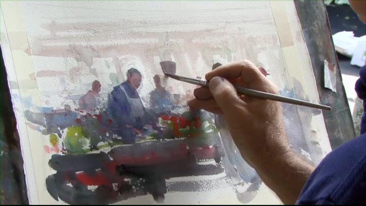 澳洲水彩画家 约瑟夫 极品水彩技法教程 工作中的人们-4集(附视频下载链接)