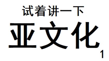 【A等生】【全民】试着讲一下:亚文化1