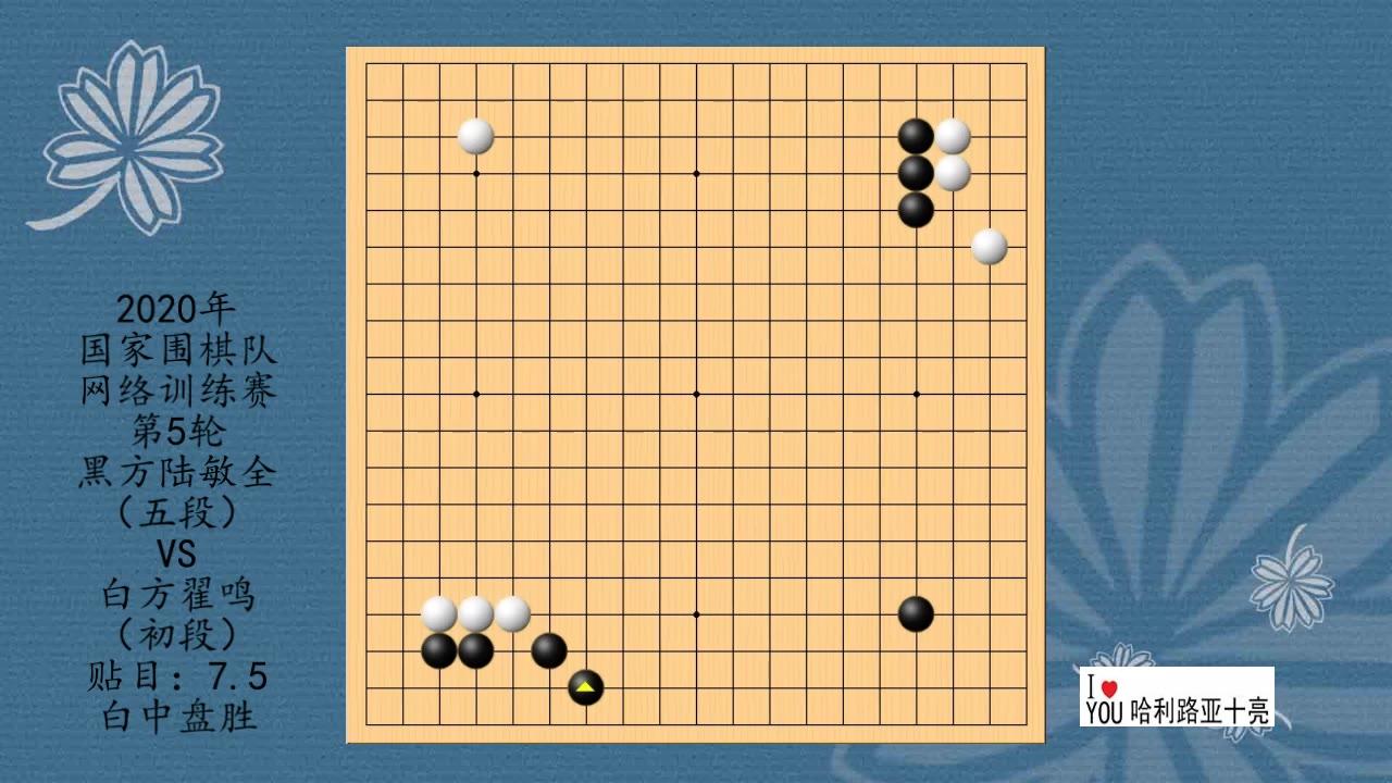 2020年围棋网络训练赛第5轮,陆敏全VS翟鸣,白中盘胜