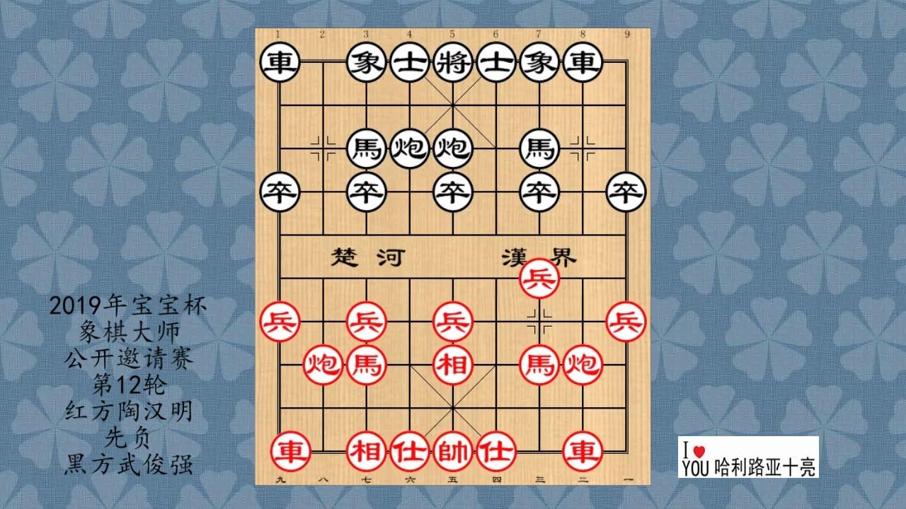 2019年宝宝杯象棋大师公开邀请赛第12轮,陶汉明先负武俊强
