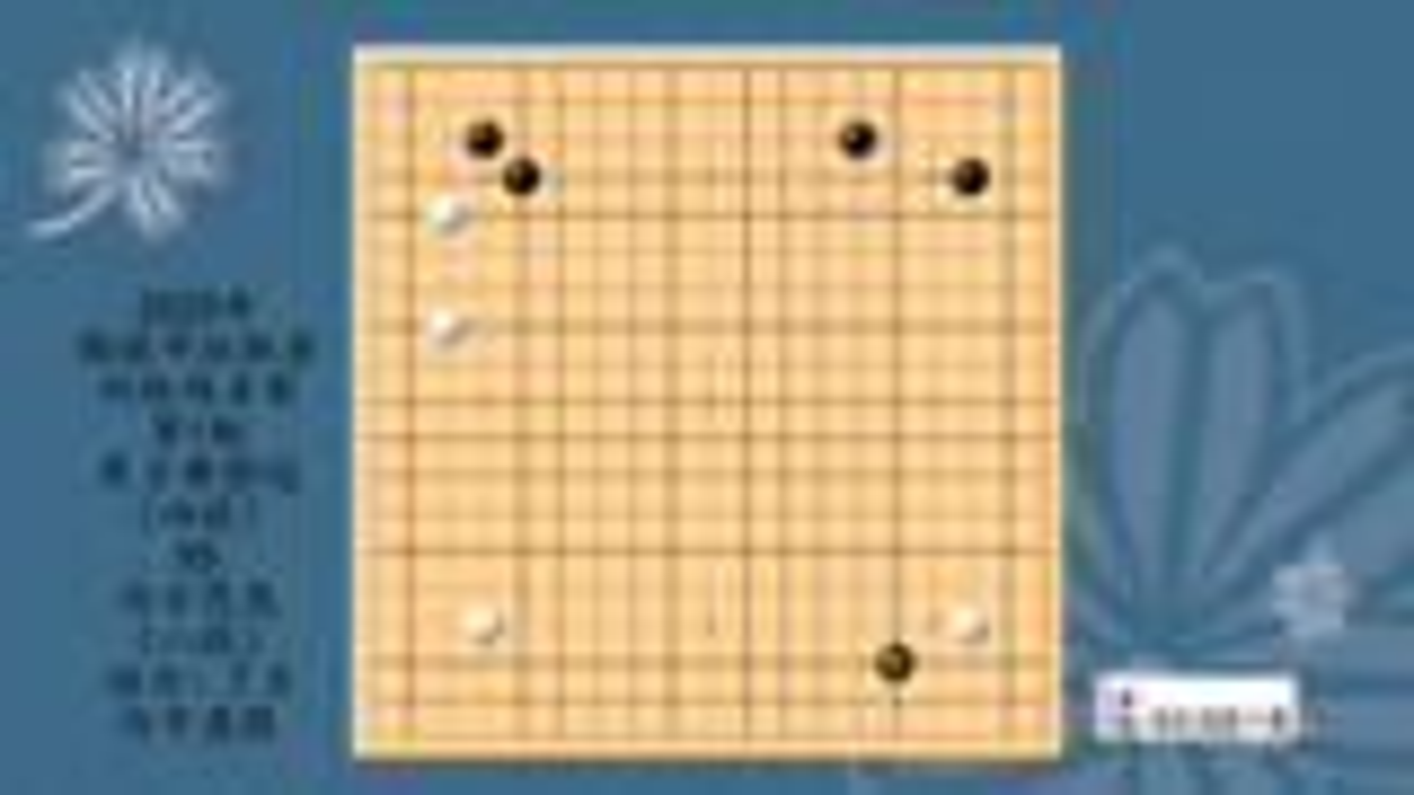 2020年围棋甲级联赛网络热身赛第1轮,黄静远VS范胤,白中盘胜